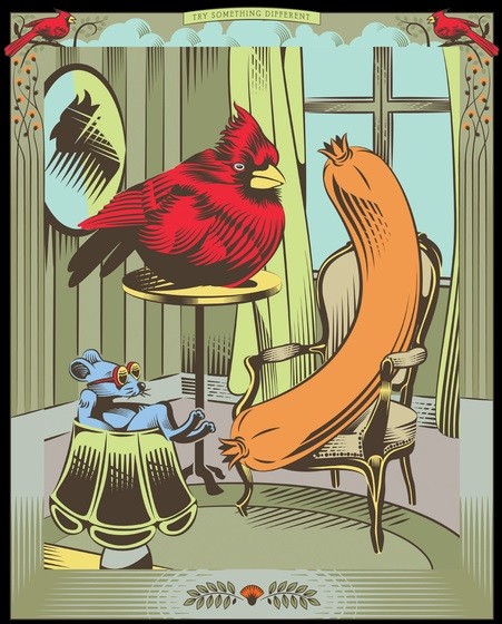 Chuột nhắt, chim sẻ và dồi nướng