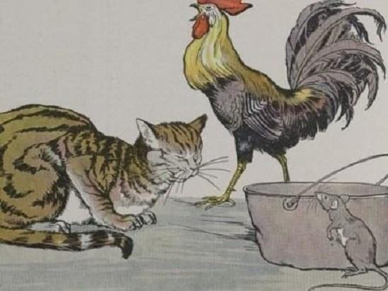 Chuột, gà trống và mèo