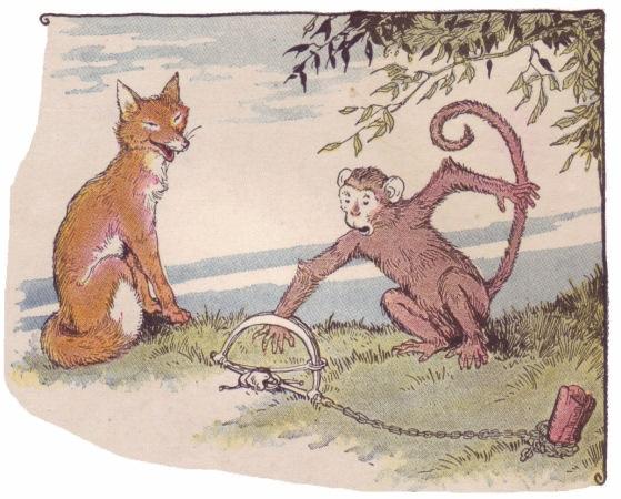 Khỉ và cáo với vị vua của khu rừng