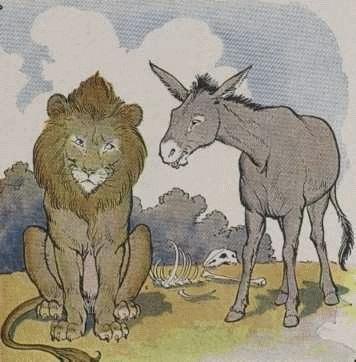 Sư tử và lừa đi săn