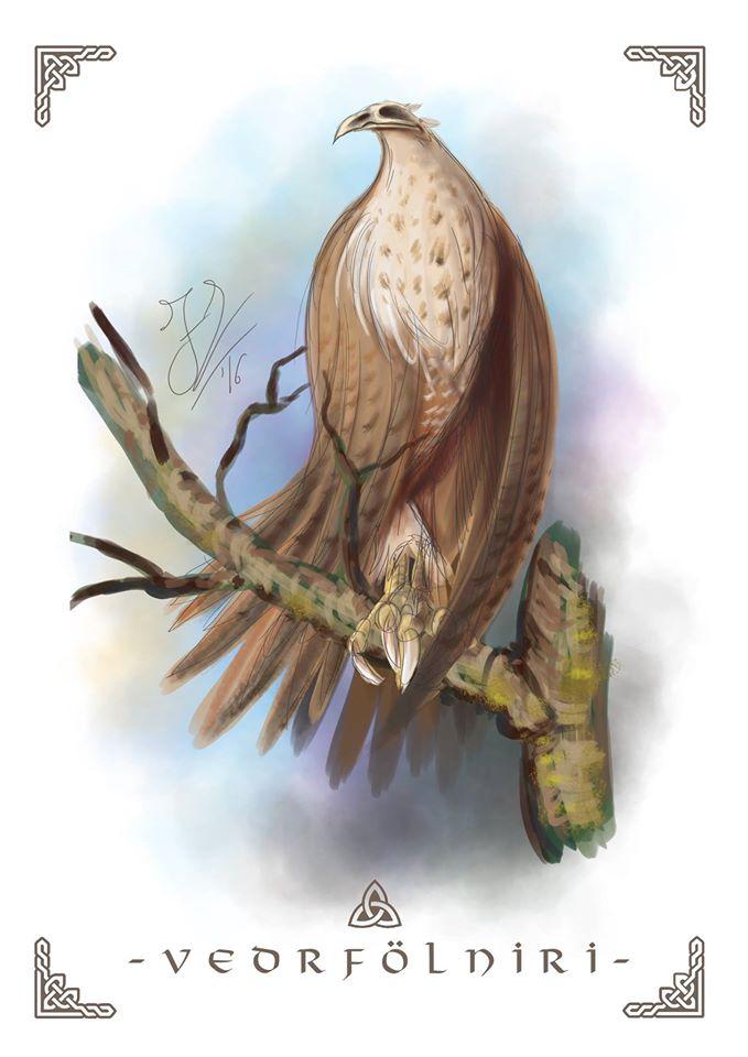 Con chim Vedrfolnir đậu trên ngọn cây Yggdrasil