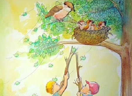 Chim sẻ mẹ và bốn con