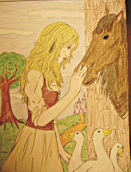 Cô gái chăn ngỗng bên suối
