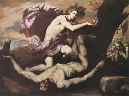 Apollon trừng trị hai tên khổng lồ con trai của Aloéos