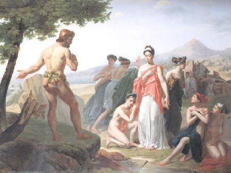 Thần Poséidon gây bão làm đắm bè. Ulysse trôi dạt vào bờ biển xứ Phéacie