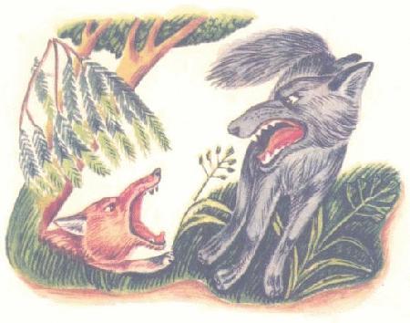 Chó sói và cáo tranh chỗ trốn