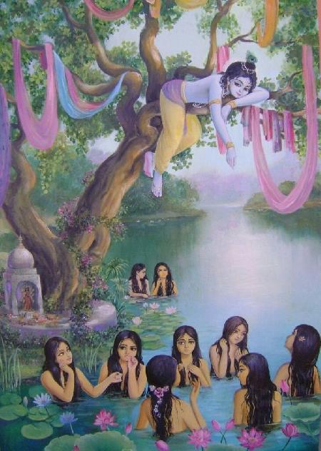 Chuyện Krishna chộm quần áo của các cô Gopis đang tắm sông
