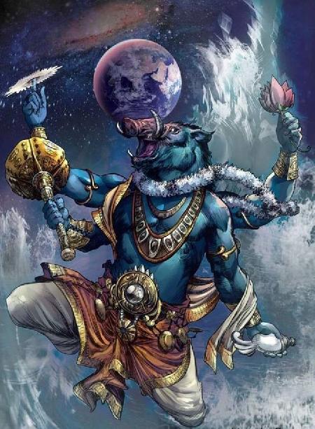 Thần lợn Varaha diệt ác thần Hiranyaksha