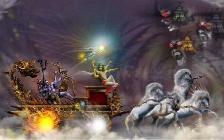 Shiva phá hủy ba thành trì của Asura (A Tu La)