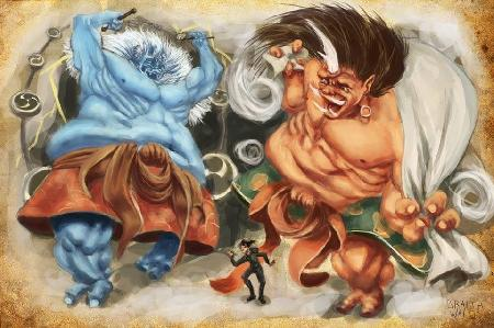 Lôi thần Raijin và Phong thần Fuujin