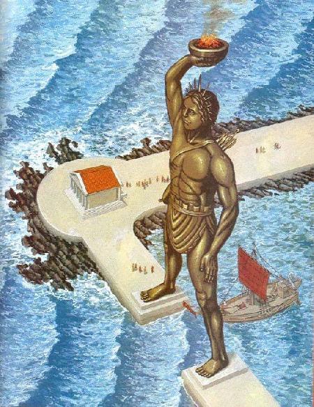 Bức tượng thần mặt trời Helios ở đảo Rhodes