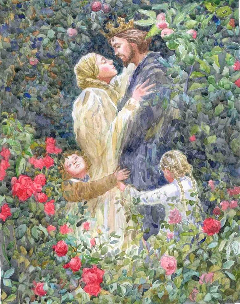 Hoàng tử gặp lại Rapunzel và các con